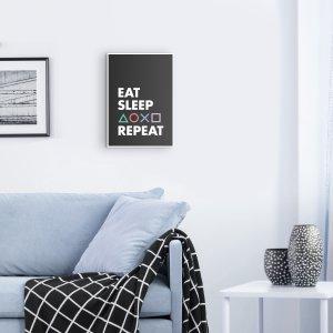 Eat Sleep Game Holzbild